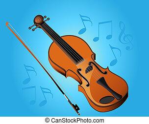violon, arc, musique, virage, bleu, fond