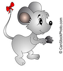 The Mouse with small bow on tail , is insulated on white.