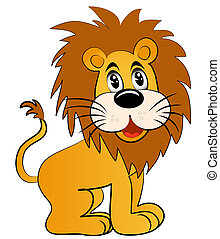 amusing young lion - illustration amusing young lion on...
