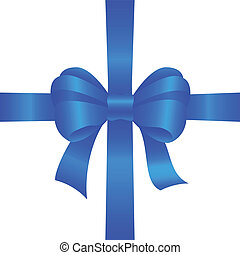 blue gift bow on white background