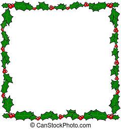 Natale, agrifoglio, bordo, cornice
