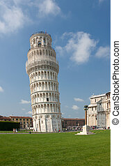Pisa tower at the field of miracles in Pisa (Italy)