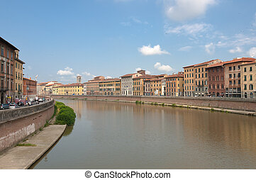 Arno river - View at the Arno river in Pisa, Italy