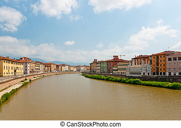 Arno river - Panoramic view at the Arno river in Pisa, Italy
