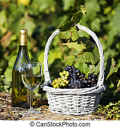 glass and bottle of wine and grappes in basket