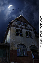 Halloween house with Moon and bats - Old ruined sinister...