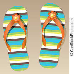 pair of flip flops  - vector pair of flip flops with flowers