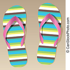 pair of flip flops - vector pair of flip flops on the sand