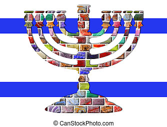 Menorah - The menorah of colored gemstones with two blue...