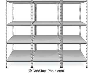 Empty bookshelves isolated on white background, vector...