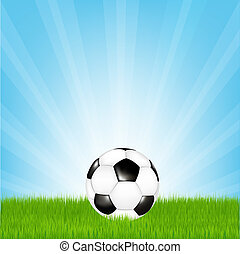 Football - Soccer Ball In Grass, Vector Illustration