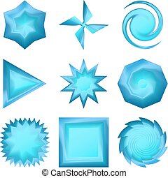 Buttons different forms, set - Vector eps10, set of blue...