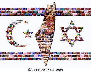 Flag of Israel - Crescent, Land of Israel and Star of David...
