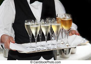 garçons, servido, champanhe, vinho