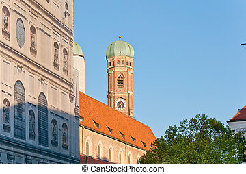 Bell towers of the famous Frauenkirche church in Munich, Germany