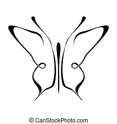 image description - Butterfly tattoo - isolated outline on...