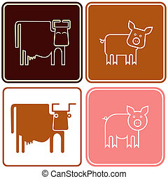 Pig and cow - sign - Cow, pig - vector stylized images. Can...