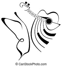Music tattoo - butterfly, guitar and piano Isolated black...