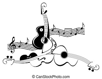 Guitar and violin - tattoo - Guitar and violin - black and...