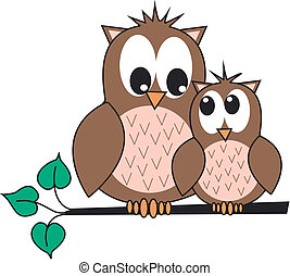 owls - two cute owls