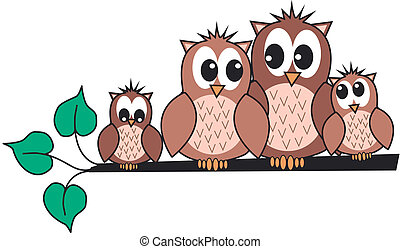 owl family - a cute owl family