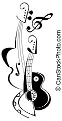 Guitar and Violin - tattoo - String musical instruments -...