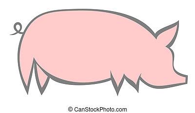 świnia, -, Wektor, Ikona