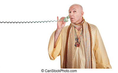 Swami On A Phone Call - Swami on phone call over white...