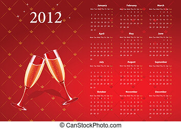 Vector red calendar 2012 champagne