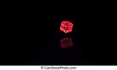 Dice No 4 - Rolling dice, transparent red, landing at number...