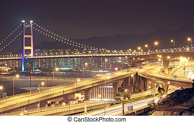 Tsing Ma Bridge in Hong Kong at night