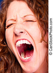 screaming woman - loudly screaming woman with huge mouth,...