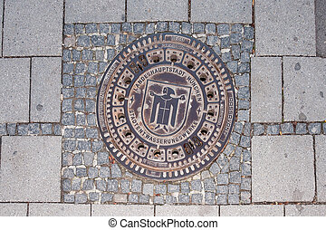unusual sewer manhole in the centre of Munich, Germany