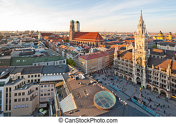 Panoramic view at the Marienplatz and the Frauenkirche,...