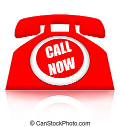 Call Now - Red telephone with Call Now inscription isolated...