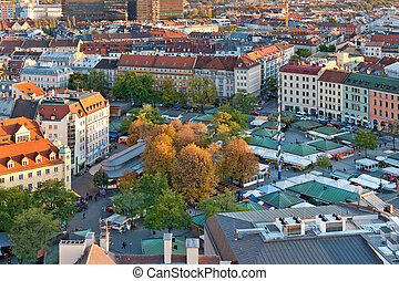 View at the famous Viktualienmarkt market in Munich, Germany
