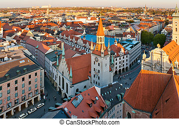 View at the Old Munich city hall, Germany