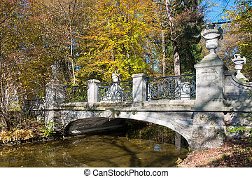 Bridge in the park - Bridge in the autumn park