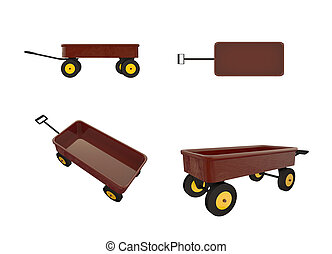 toy wagon isolated on white background