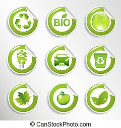 Eco Labels Set - 9 Eco Labels, Vector Illustration