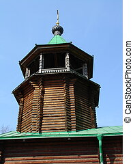 Wood church - Russian wood orthodox church in Moscow city