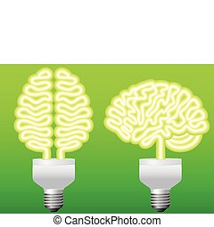 energy bulb brain, vector - think green, energy bulb brain,...