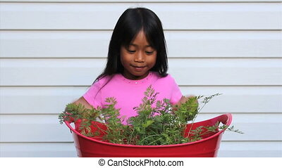 Happy Little Carrot Picker - A cute little Asian girl jumps...