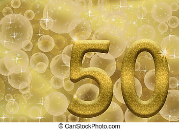 50th Anniversary - The number fifty 50 in gold with golden...
