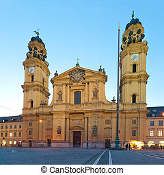 Evening view at the famous Theatiener church in Munich, Germany