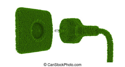 Grass outlet - 3d render of grass outlet isolated on white...