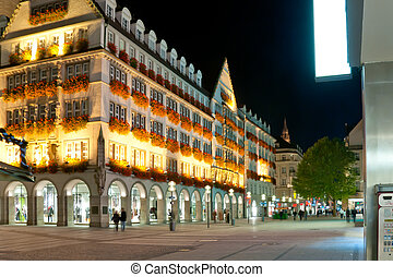 Night view of the Munich street, Germany