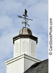 weather vane - a weather vane on a roof against a sky