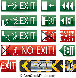 Various exit signs - Various exit sign designs with glow and...