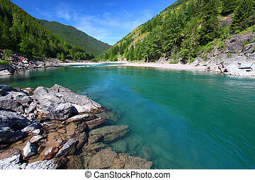 Flathead River Rapids - Montana - Turquoise waters of the...
